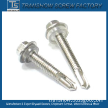 Hex Flange Head Drilling Screw with Transparent Washer