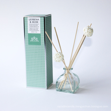 60ml reed diffuser in glass bottle with rattan reeds and ball in box