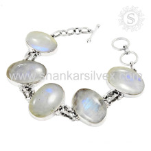 Arco-íris moonstone prata jóias 925 prata esterlina pulseira de jóias de prata artesanal