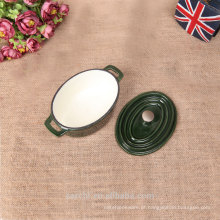2016 panelas de ferro fundido mini oval recentemente personalizadas em cor verde