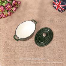 2016 новая мини-овальная посуда из чугуна белого цвета в зеленом цвете
