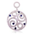 Big Round Circle 925 Pendentifs en argent sterling Jewelry Blue CZ