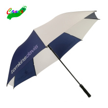 blue and white auto open windproof golf umbrella with logo printing
