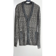 Men Winter Patterned Knitted Cardigan with Button and Pocket