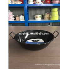 enamel deep fry pot/China wok/black wok with two handles