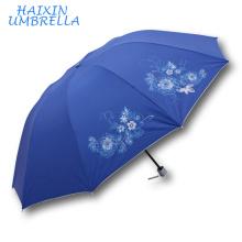 Mercado Alvo Características Únicas Chinês Silkscreen Impresso Logotipo Slogan Maior Tamanho 3 Folding Umbrella Fabricante China