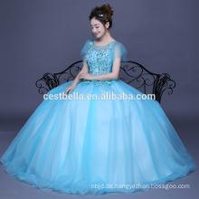 Rüschen Quinceanera Kleider Ballkleid Blaues Abendkleid Promkleid