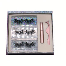 SL011H Hitomi Mink Eyelashes Custom Logo soft natural mink eyelashes Fluffy 25mm Magnetic Eyelashes with Eyeliner and tweezers