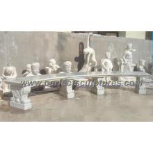Antike Stein Marmor Garten Bank für Park Dekoration (QTC037)