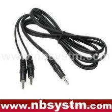 Enchufe estéreo de 6 pies 3,5 mm a estéreo de 3,5 mm 2 enchufes de cable de audio recto