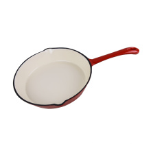 Cast Iron Red Enamel Round Fry Pan 8-Inch
