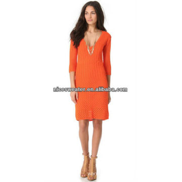 Orange fashion women crochet pattern latest tight sweater dress