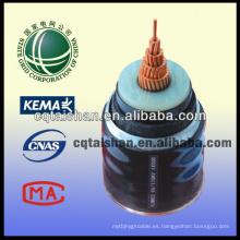 Cable de alimentación China 110kV XLPE de cobre aislado PVC 1 * 500mm2 Cable de alimentación resistente al fuego de la rejilla del estado