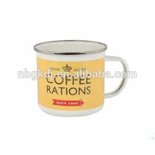 2015 New collection Enamel Mug white/yellow mugs