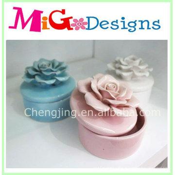 Novo design fornece cerâmica flor jóias caixas