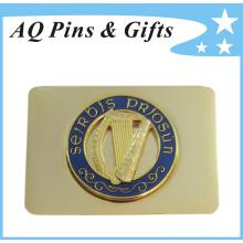 Золото слоистых ремень бак в сплаве цинка с PIN&кольцо (пояс пряжка-008)