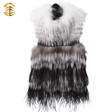 China Supplier Womens Luxury Long White And Black Fox Gilet Real Silver Fox Fur Vests