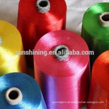 hilados de filamentos de viscosa teñidos y coloreados