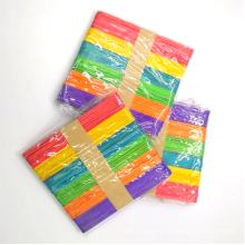 Factory sale 114*10*2mm colorful Wooden Popsicle Sticks Flat Ice Cream Sticks for craft
