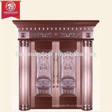 Puerta de bronce de lujo de lujo de la fábrica, puerta doble del cobre del oscilación