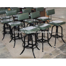 Industrial Vintage Bar Stool Leather Seat and Back