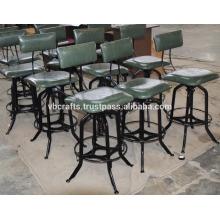 Промышленные старинные барный стул кожаное сиденье и обратно