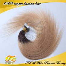 2015 Vente Chaude En Gros Top Qualité 100% Vierge Remy Russe Cheveux Ombre Couleur Russe Ruban Cheveux