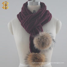 2017 Hot selling cheap fashion pompom knitting scarf for women