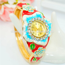 Personalisierte Luxus bunte Strass Blumen Armreif Uhr für Frauen B075