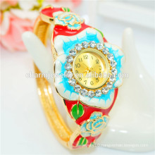 Personalized Luxury Colorful Rhinestone Flower Bangle Watch For Women B075