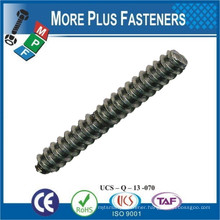 Made in Taiwan Zinc Plated Wood to Metal Wood to Wood Threaded Double End Dowel Screw