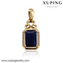 32915 Colgante de piedras preciosas de lujo al por mayor de joyería de las mujeres de lujo en forma de rectángulo