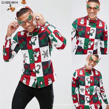 Popular Christmas Snowflake Bell Snowman Gift Printed Men′s Shirt