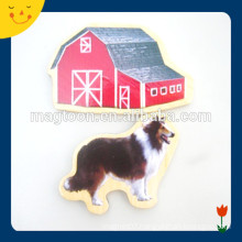 Custom chicken dog design wood fridge magnet sticker