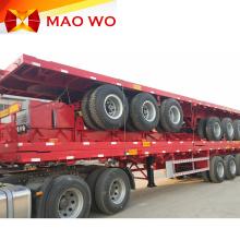 Semi-remorque à 3 essieux pour conteneur à plat de 40 pieds