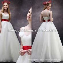 Venta caliente un hombro de alta cintura una línea de tren de cepillo hecho a mano flor de novia vestido de novia LL-0045