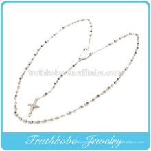 Collar religioso de acero inoxidable de alta calidad con cuentas de rosario de 5 mm grabado Virgen María y crucifijo colgante hallazgos de joyería