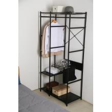 schwarzer Kleiderschrank Metall 3 Lagen Regale