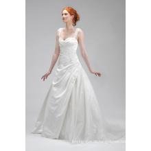 Gute Qualität Elfenbein Satin Applique Brautkleid