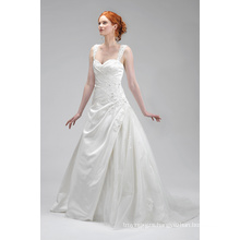 Good Quality Ivory Satin Applique Bridal Dress