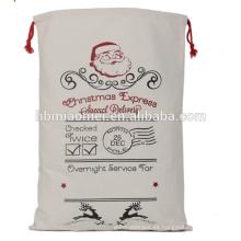 2017 Canvas Bag Santa Saco para regalos y regalos precio barato alces impreso algodón regalo de navidad bolsa al por mayor