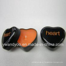 Vela perfumada de la lata de la forma del corazón negro de la soja