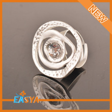 Fashion Jewelry Accessories Matt Silver Crystal Flower Ring Adjustable