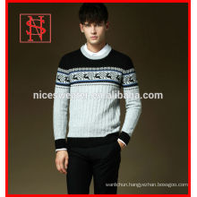 Men cable knit sweater with deer christmas jumpers