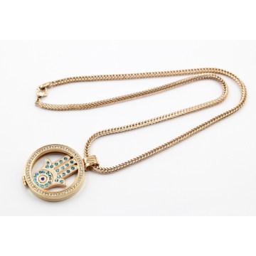 Heiße Verkaufs-Rosen-Goldüberzug-lebende Locket-Halskette
