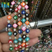 Forma quadrada Turquia Evil Eye e Copa Garra Corrente de Strass Corrente de Metal Rosário Beads