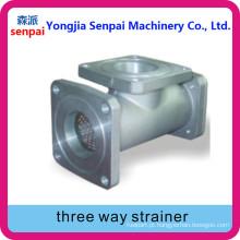 Alumínio Alloy Water Oil Use Válvula de filtro de três vias tipo T