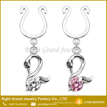 Surgical Steel Dangle Clear Pink CZ Swan Non Piercing Nipple Ring