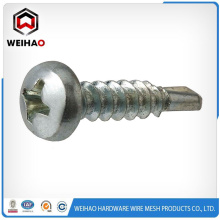 White zinc plated Pan head self drilling screw