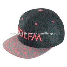 Snapback cap with embroidery and allover printing, 2 styles are available